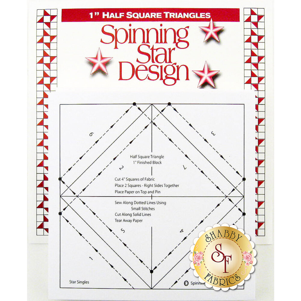 "The front of the Star Singles 1"" Half Square Template showing instructions"