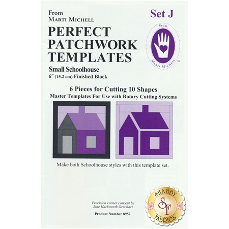 Perfect Patchwork Templates Set J - Small Schoolhouse #MM8952 from Marti Michell