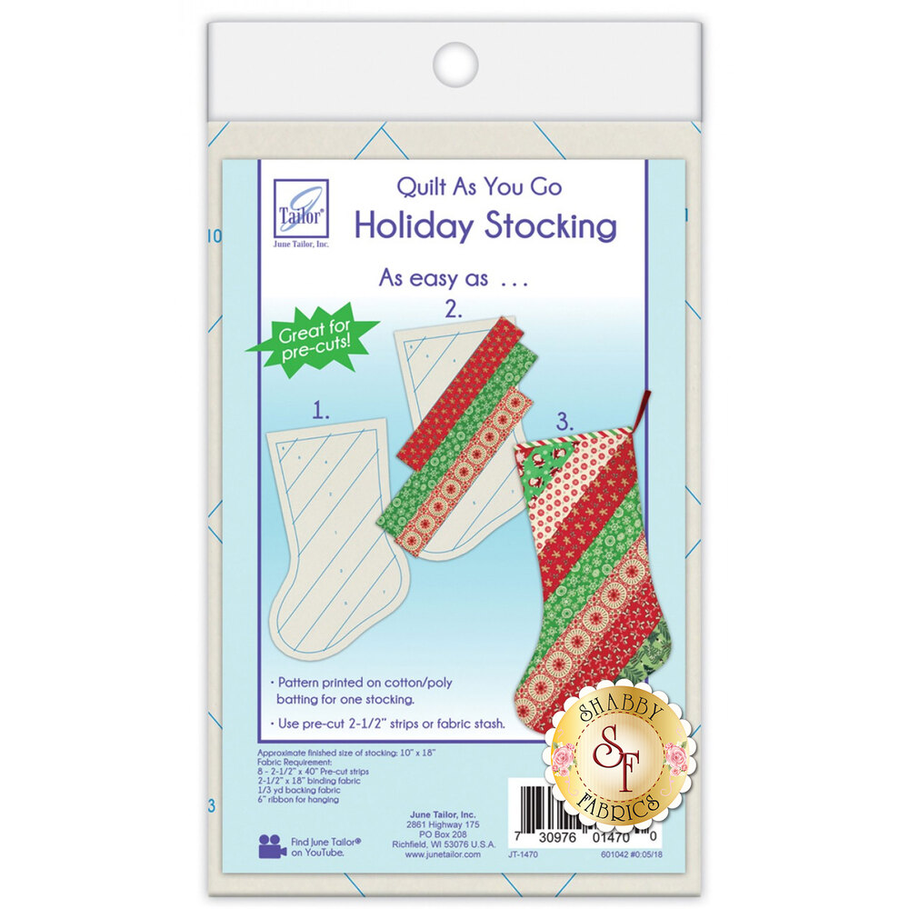 Quilt As You Go Holiday Stocking Pre-Printed Batting from June Tailor