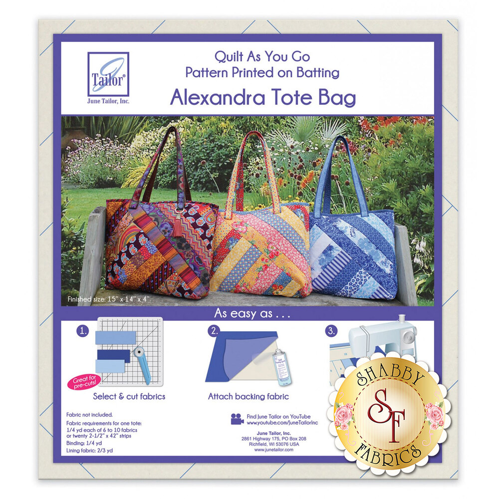 Quilt As You Go Alexandra Tote Bag available at Shabby Fabrics