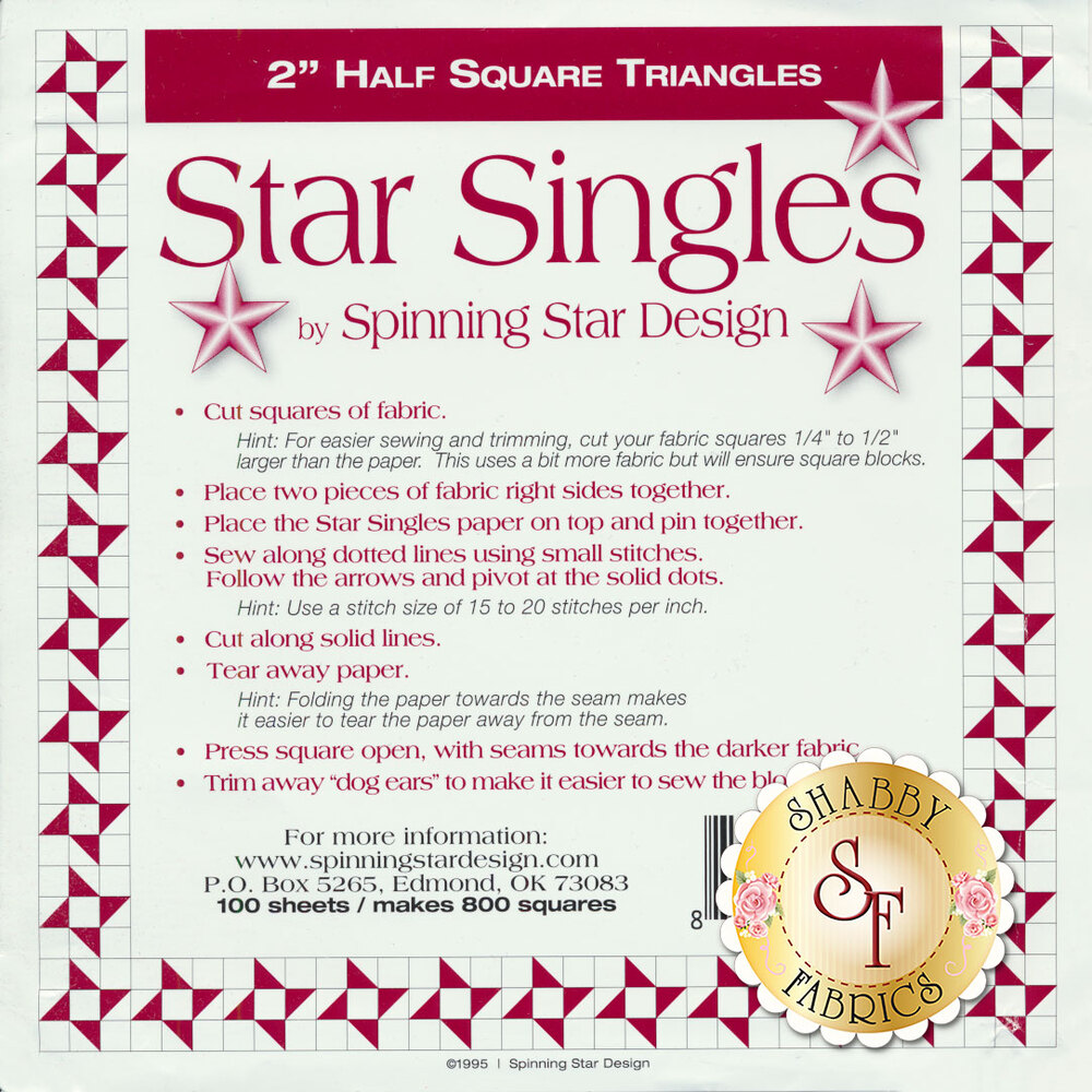 "The front of the Star Singles 2"" Half Square Template showing instructions"