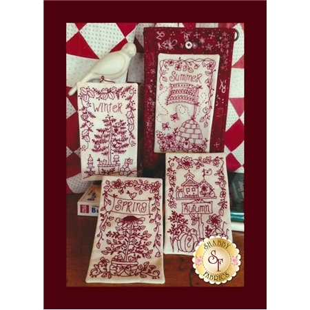 4 Seasons Redwork Button-Ups CD for Machine Embroidery Pattern