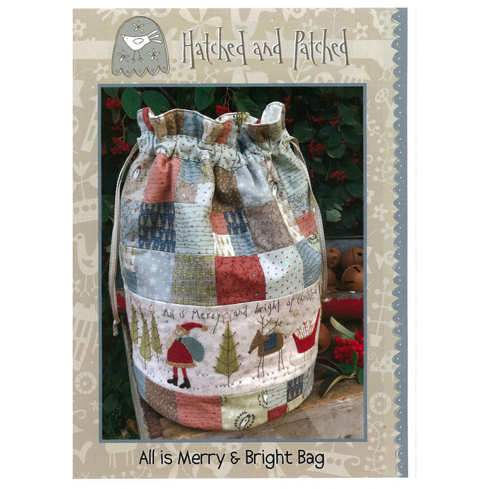 Front of the All Is Merry And Bright Market Bag Pattern by Hatched and Patched | Shabby Fabrics