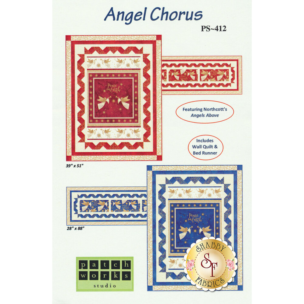 The front of the Angel Chorus pattern showing both the red and royal colors of each project