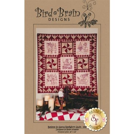 Believe In Santa Red Work Quilt Pattern