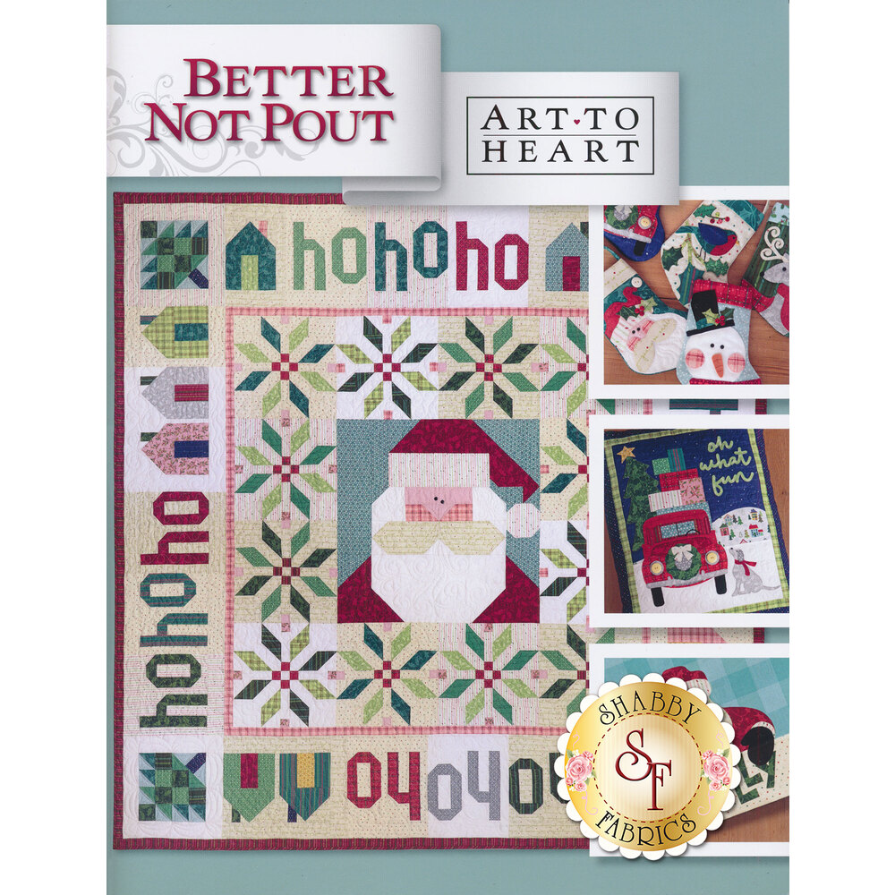 The front of the Better Not Pout book showing the finished Santa quilt | Shabby Fabrics