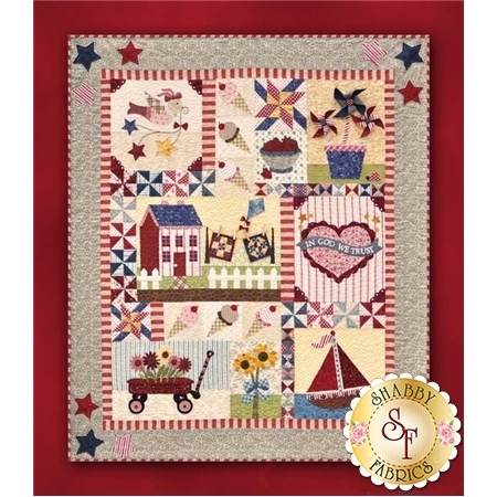 9 block summer quilt with summer motifs wagon ice cream pinwheels sailboat