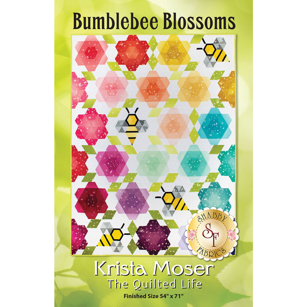 The front of the Bumblebee Blossoms pattern showing the finished quilt | Shabby Fabrics