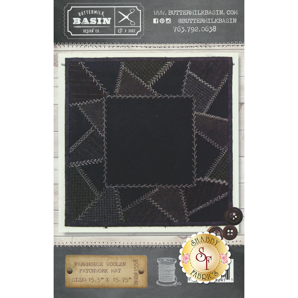 Farmhouse Woolen Patchwork Mat Pattern available at Shabby Fabrics