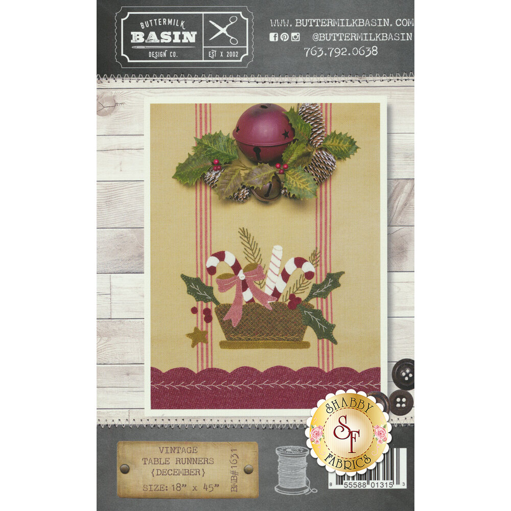 The front of the Vintage Table Runners thru the Year pattern showing a Christmas table runner