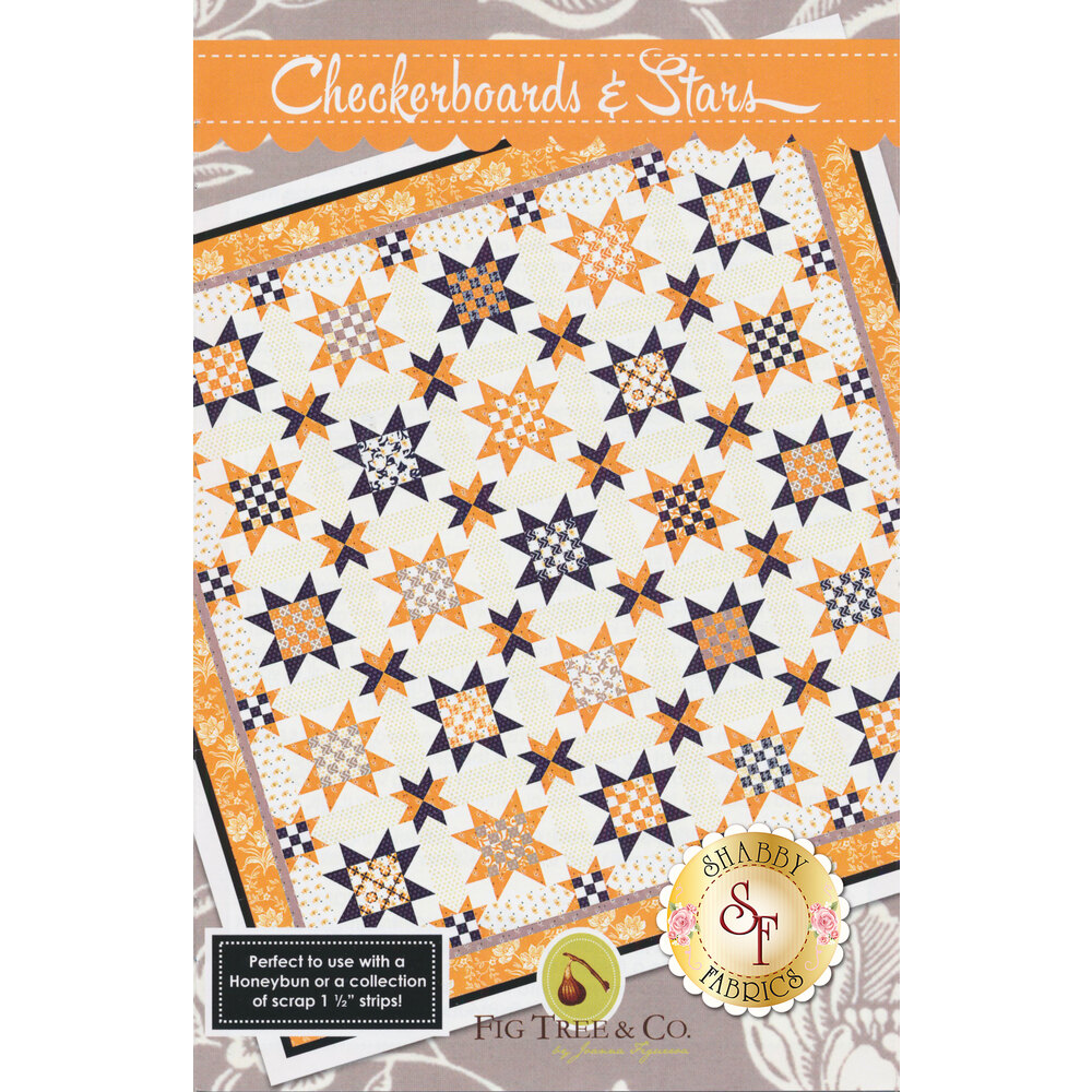 The front of the Checkerboards & Stars pattern showing the finished quilt | Shabby Fabrics