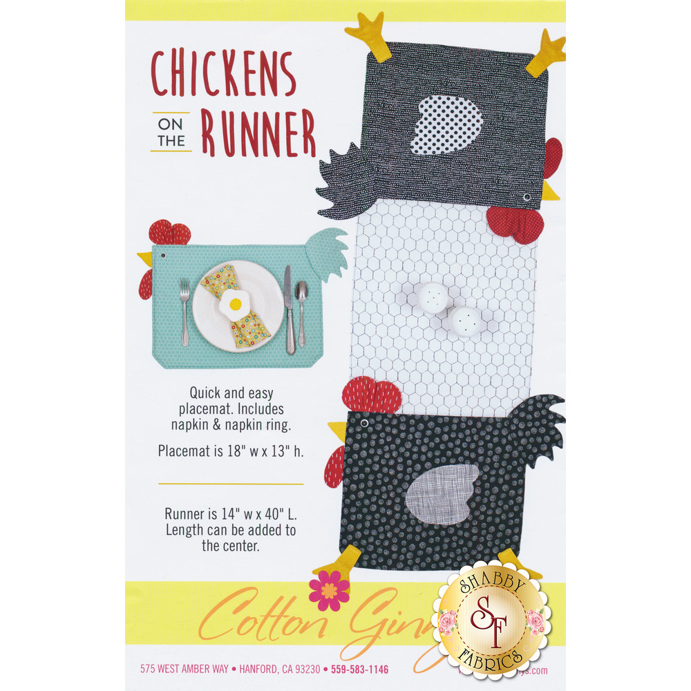 The front of the Chickens on the Runner pattern | Shabby Fabrics