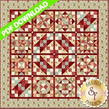 Burgundy and pale green pieced quilt featuring a variety of patchwork blocks.