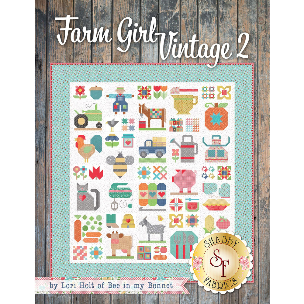 The front of the Farm Girl Vintage 2 book showing the finished quilt | Shabby Fabrics