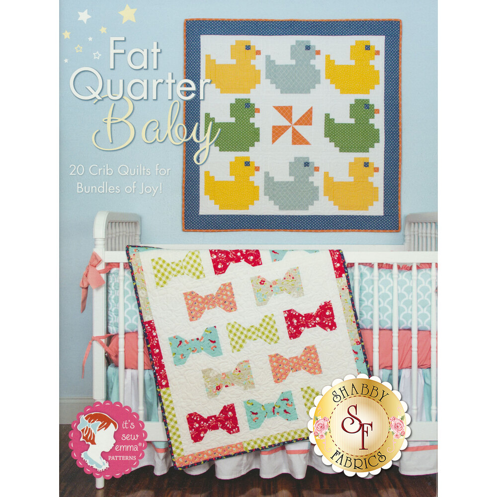 The front of the Fat Quarter Baby Book showing a finished duck Quilt and Bow tie quilt