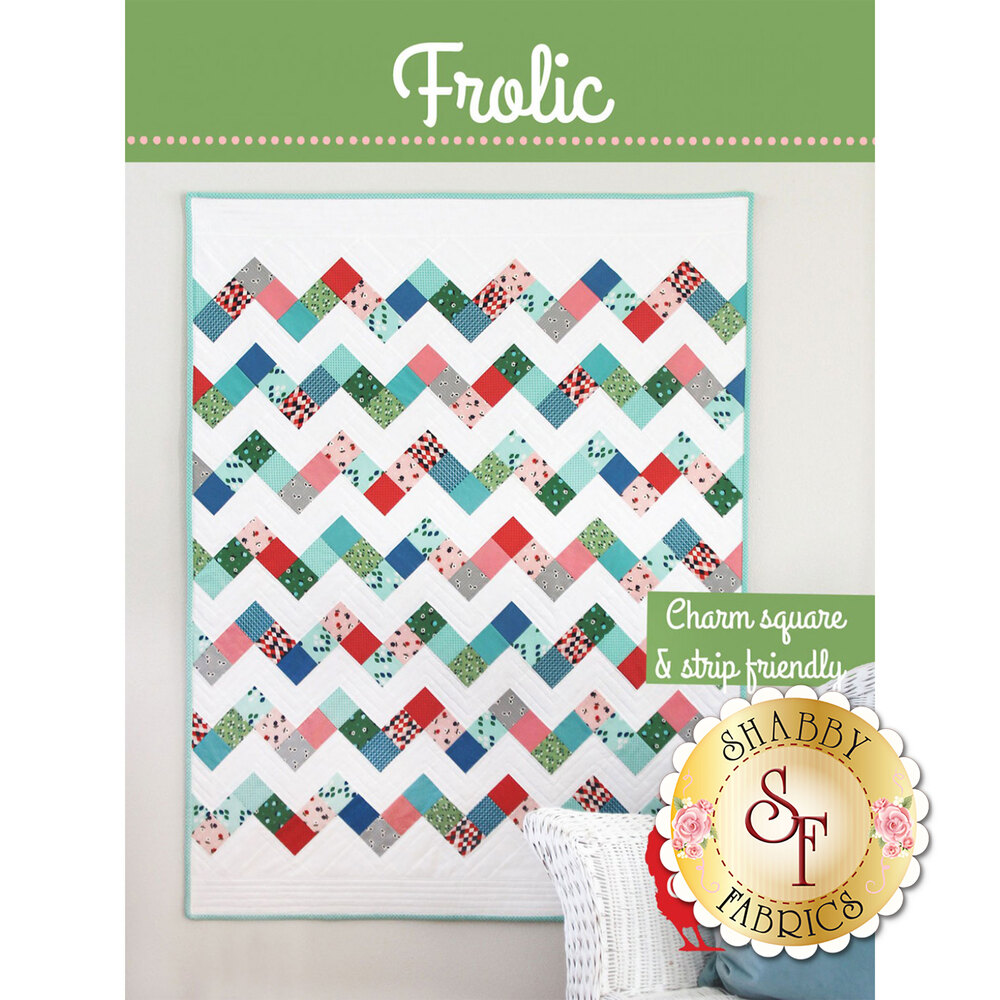The front of the Frolic pattern showing the finished quilt | Shabby Fabrics