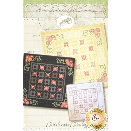 three options and sizes of Gatehouse Gardens floral lattice quilt