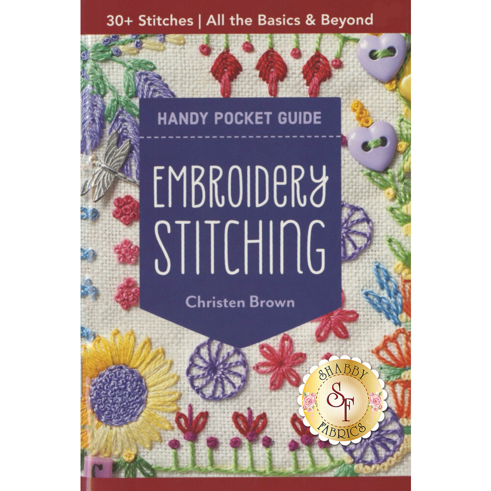 The front of the Handy Pocket Embroidery Stitching Guide   Shabby Fabrics