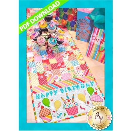 Happy Birthday Table Runner Pattern - PDF Download