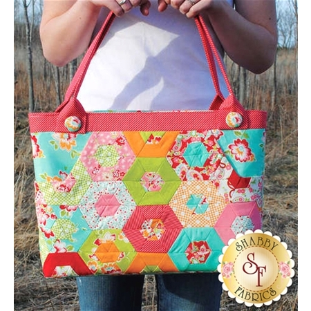 multicolor red and blue hexagons bag pattern