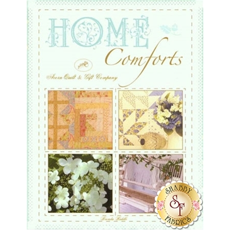 Home Comforts book of patterns with floral and pastel themed quilts
