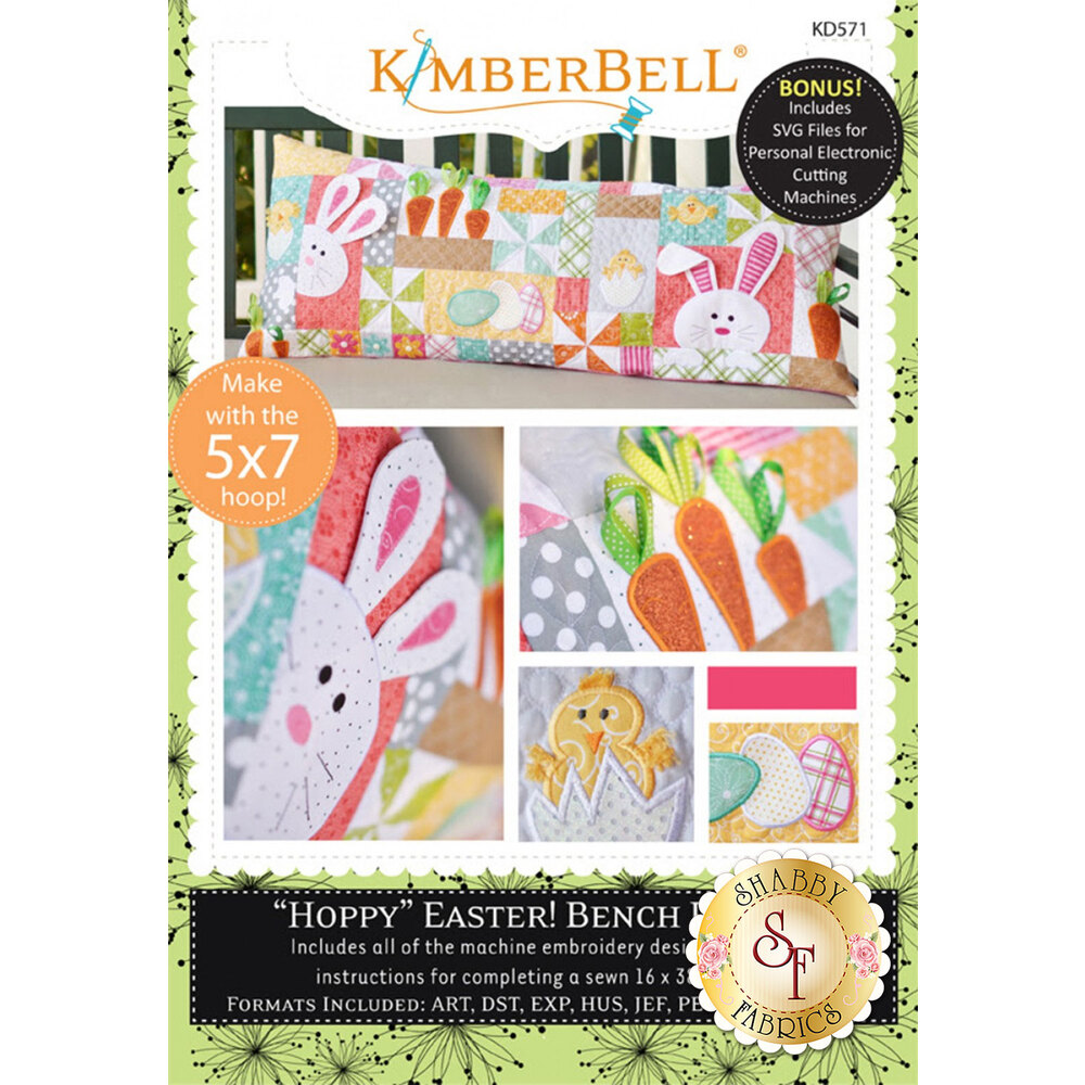 """Hoppy"" Easter! Bench Pillow Machine Embroidery CD available now"