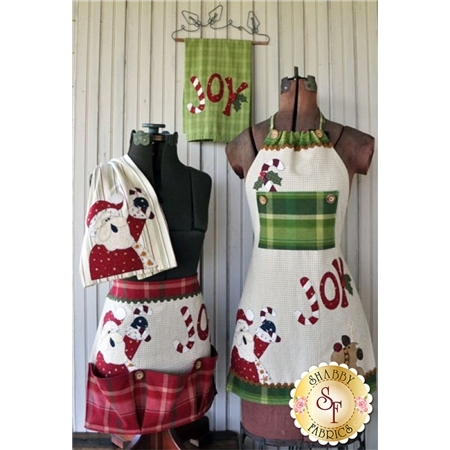 Just 2 Tea Towels Pattern- Christmas Set w/Buttons