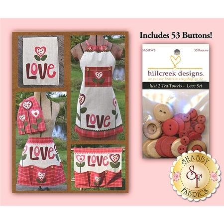 Just 2 Tea Towels - Love Set with Buttons