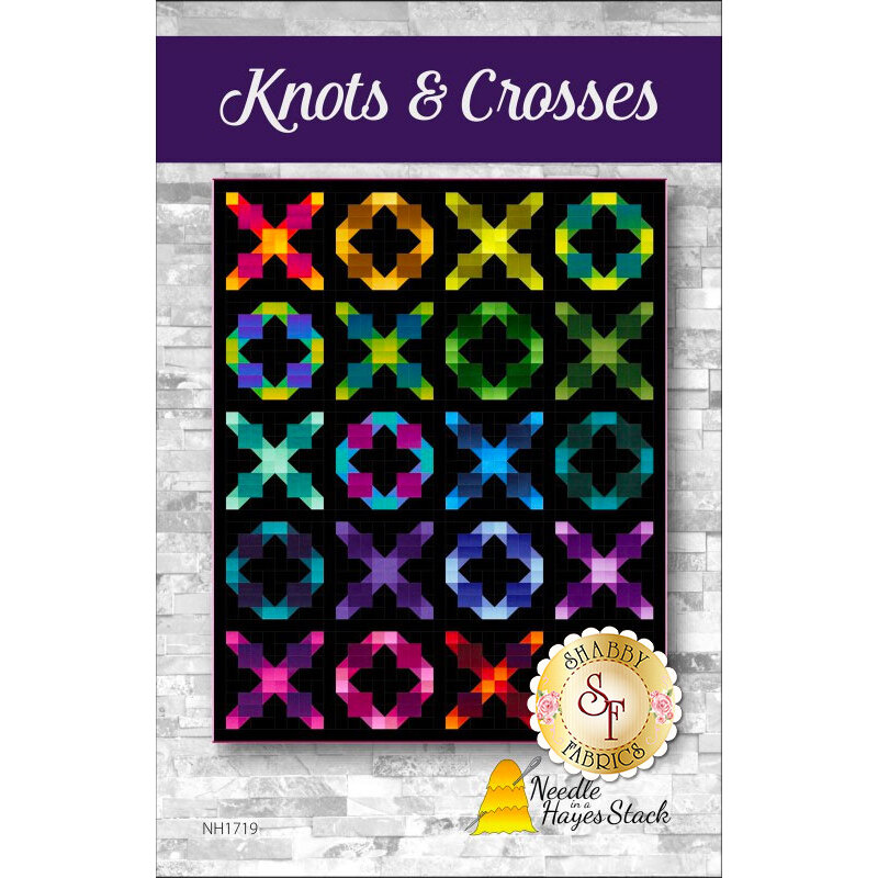 The front of the Knots & Crosses pattern showing the finished quilt | Shabby Fabrics