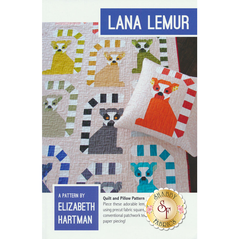 The front of the Lana Lemur pattern showing the finished quilt and pillow cover with pieced lemurs