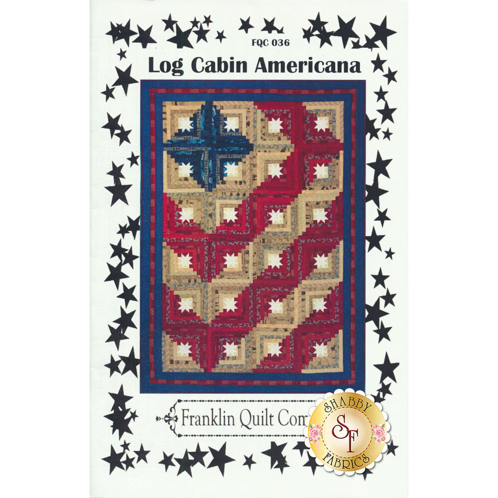 The front of the Log Cabin Americana Pattern, showing the controlled scrappy quilt