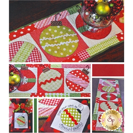 Merry & Bright Ornament Table Runner & Tea Towel Set - Kimberbell Pattern