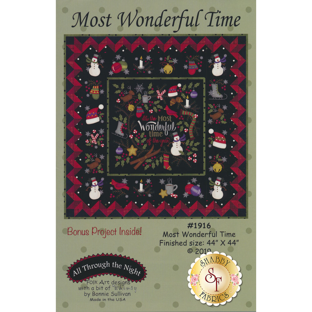 The front of the Most Wonderful Time pattern showing the completed quilt