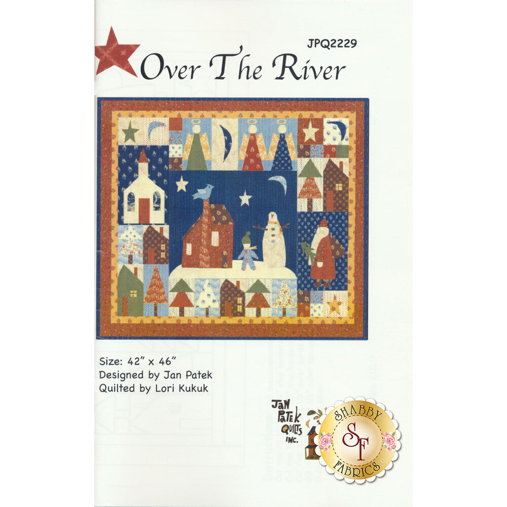 The front of the Over The River pattern showing the finished Christmas quilt | Shabby Fabrics