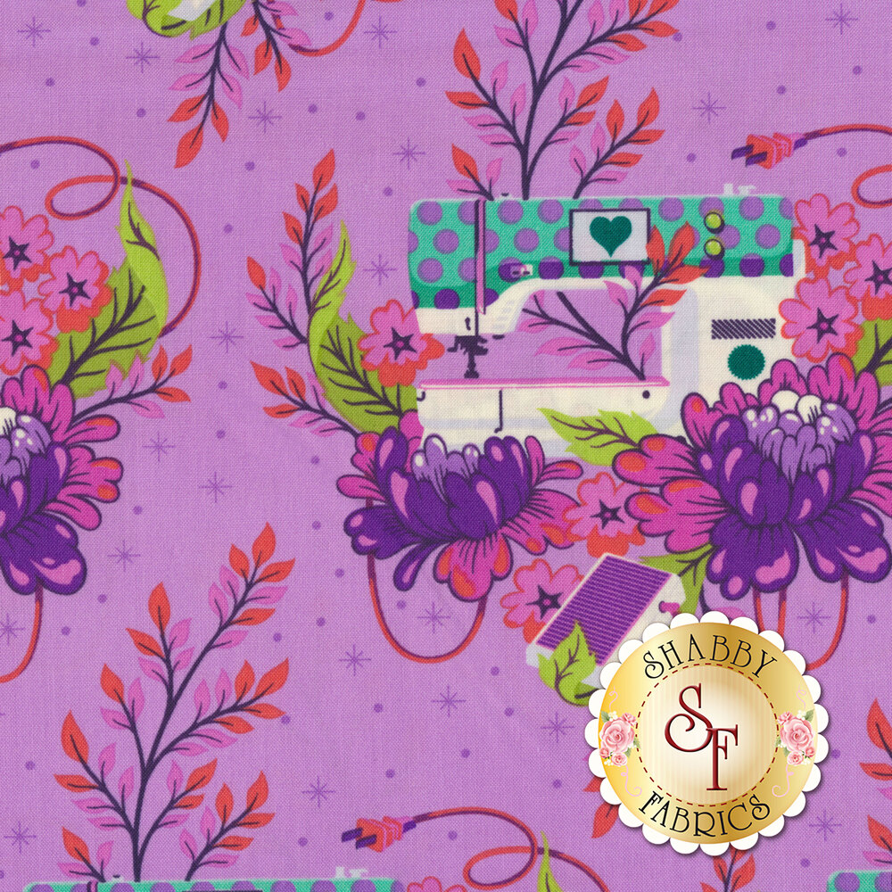 Sewing machines with flowers on purple | Shabby Fabrics