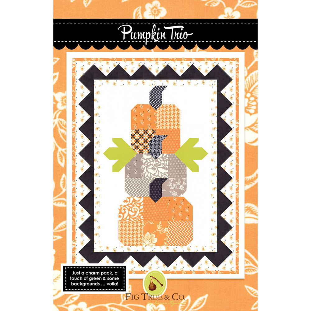 The front of the Pumpkin Trio pattern showing the finished Halloween quilt | Shabby Fabrics