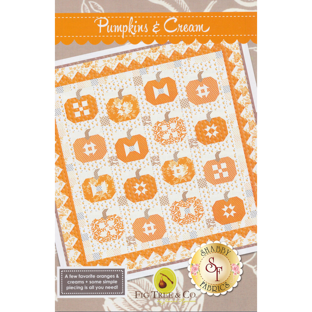 The front of the Pumpkins & Cream pattern showing the finished Halloween quilt | Shabby Fabrics