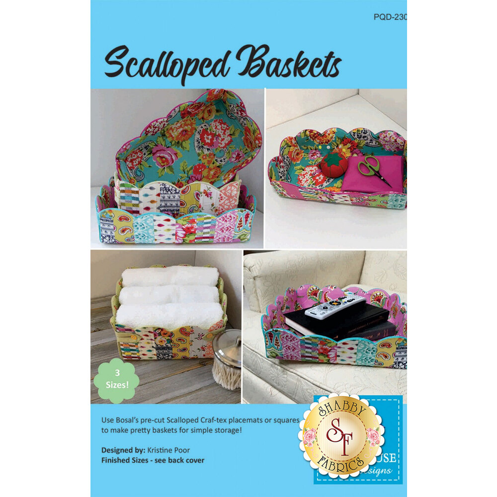 The front of the Scalloped Basket pattern showing the finished baskets | Shabby Fabrics
