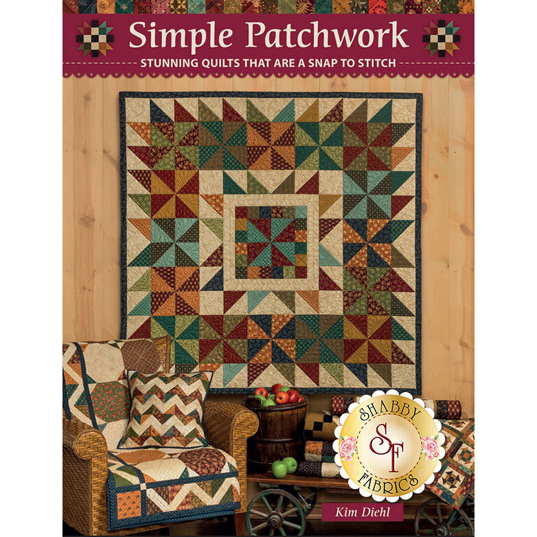 The front of the Simple Patchwork book showing multiple patchwork projects | Shabby Fabrics