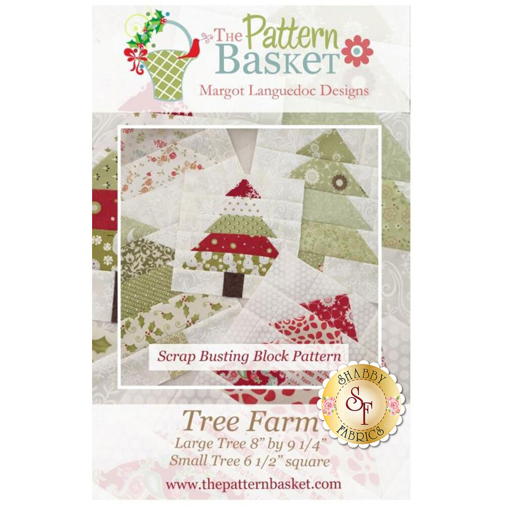The front of the Tree Farm pattern showing the finished tree blocks | Shabby Fabrics