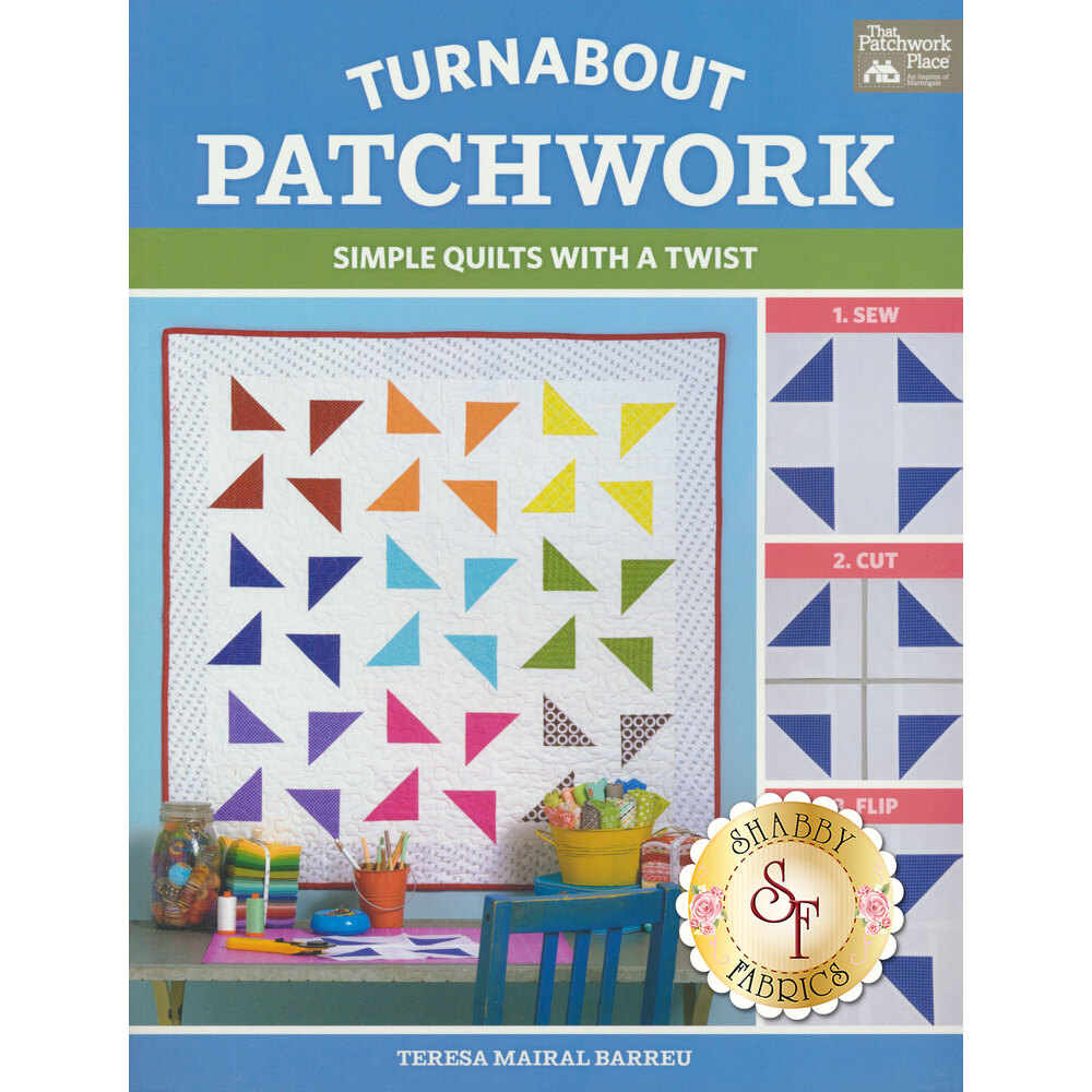 The front of the Turnabout Patchwork Book showing a finished patchwork quilt