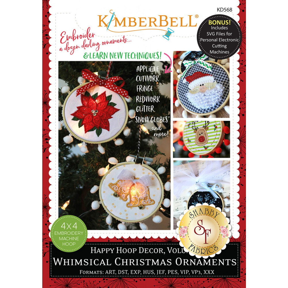 The front of the Happy Hoop Decor, Volume 1: Whimsical Christmas Ornaments showing the ornaments