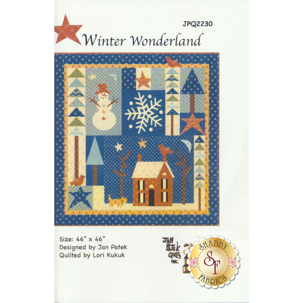 The front of the Winter Wonderland pattern showing the finished Winter quilt | Shabby Fabrics