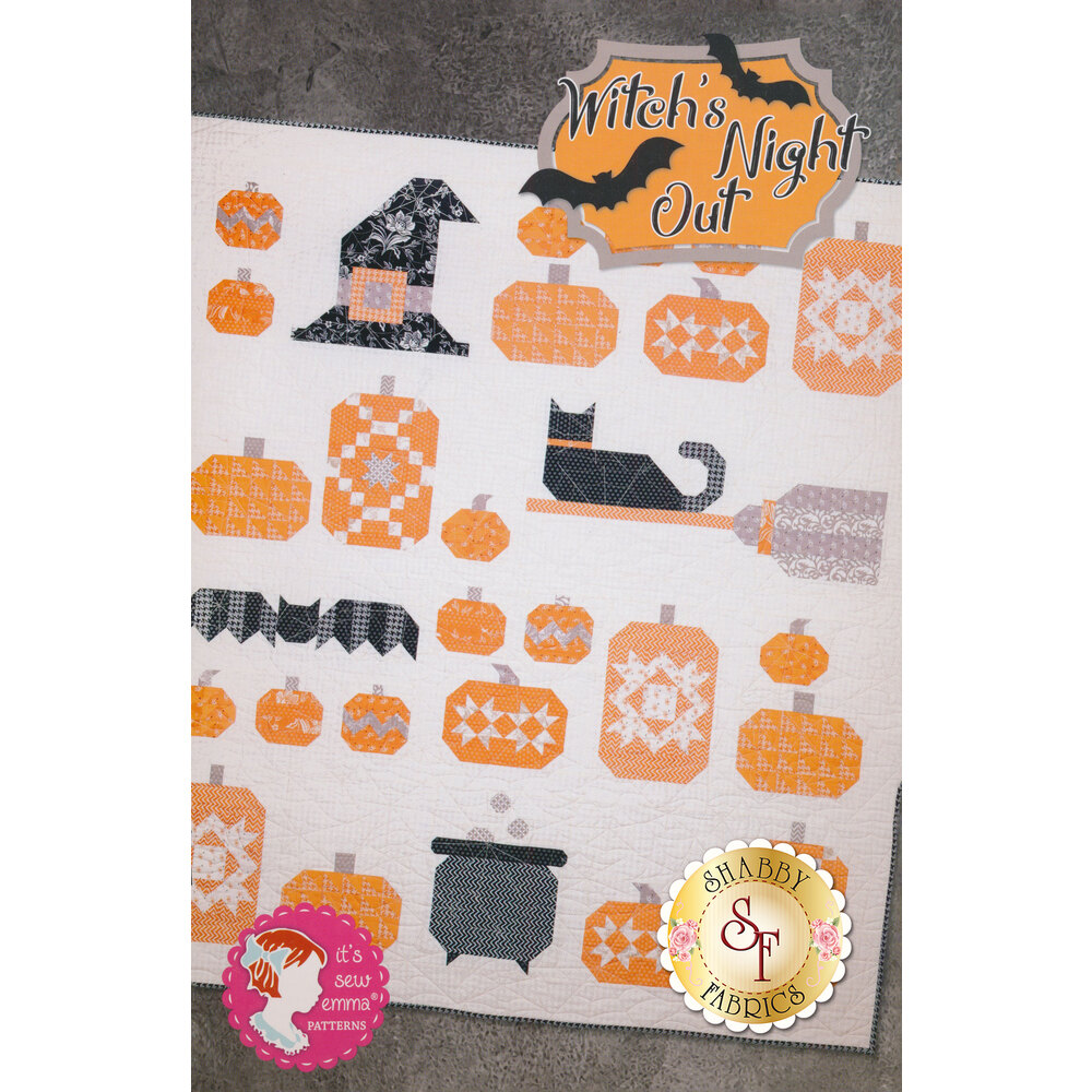 The front of the Witch's Night Out book showing the finished quilt