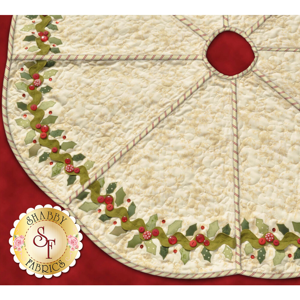 Holly-bordered tree skirt in cream with a red candy-striped binding.