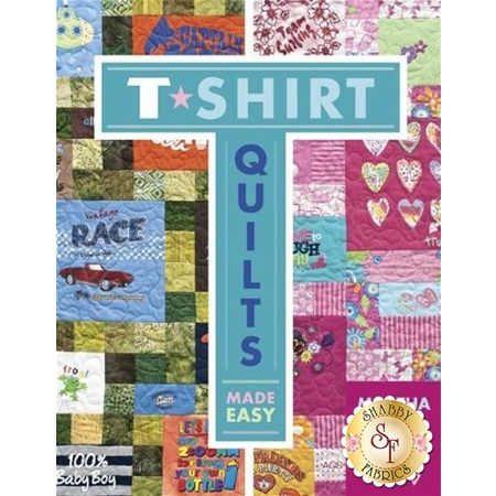 book cover with examples of green and pink quilts made from t-shirts