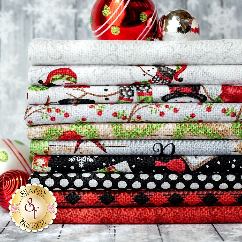 An image of the fabrics included in the Snow Place Like Home FQ Set | Shabby Fabrics