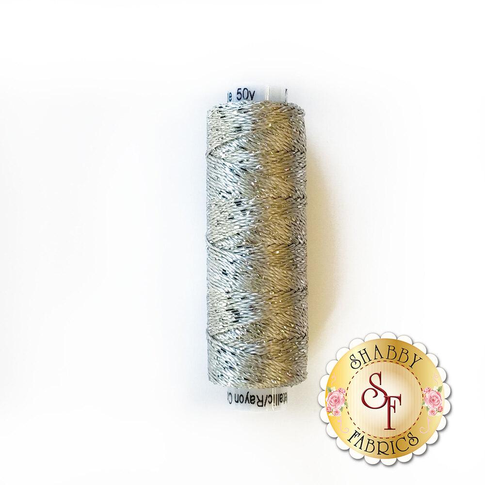 Silver metallic thread on a white spool | Shabby Fabrics