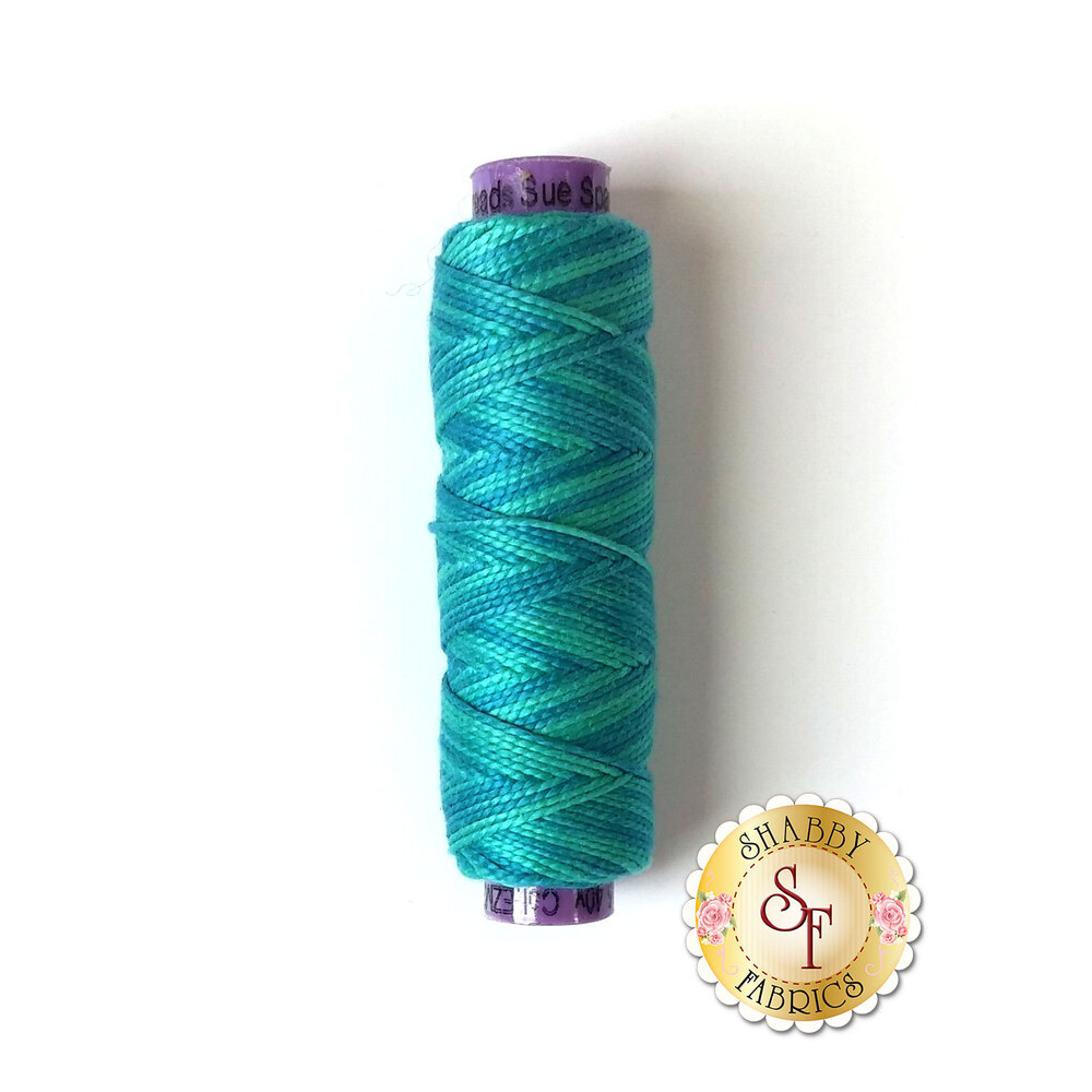 A spool of beautiful blue and teal multi-colored thread  - Eleganza EZM20 Riptide