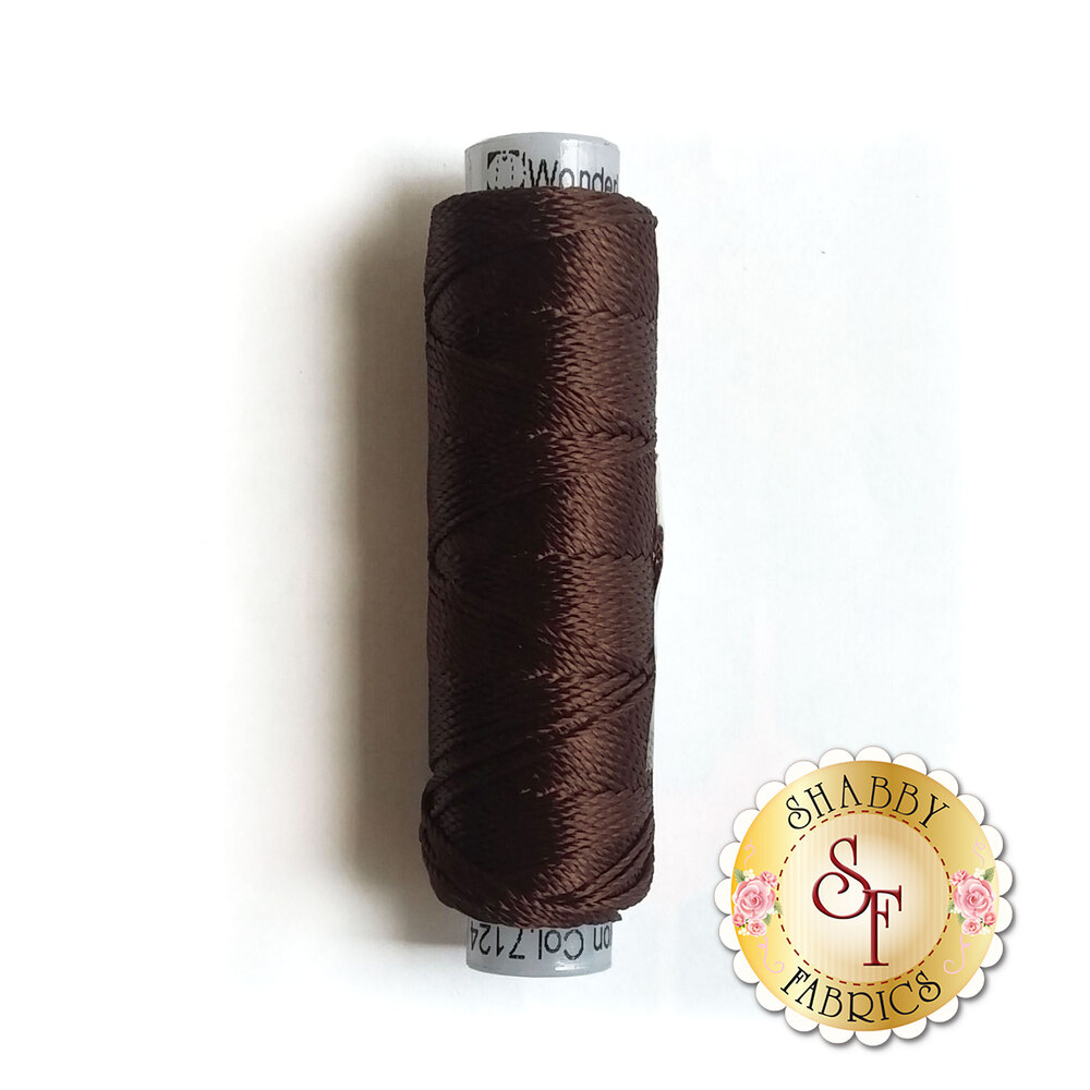 Dark brown chestnut thread on a spool | Shabby Fabrics